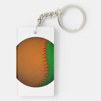 Béisbol anaranjado y verde llaveros