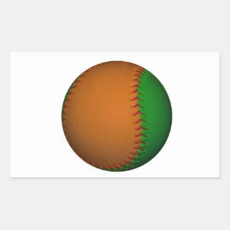 Béisbol anaranjado y verde pegatina rectangular
