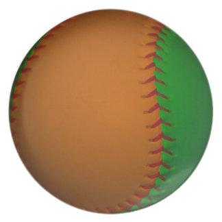 Béisbol anaranjado y verde platos