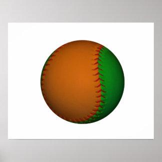Béisbol anaranjado y verde póster