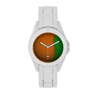 Béisbol anaranjado y verde reloj de mano
