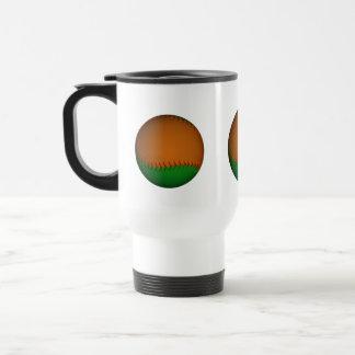 Béisbol anaranjado y verde taza de viaje de acero inoxidable