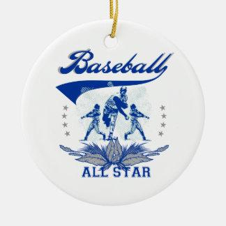Béisbol azul All Star 2 camisetas y regalos Adorno Navideño Redondo De Cerámica