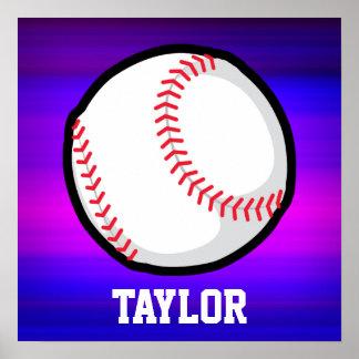 Béisbol, azul violeta del softball y magenta póster