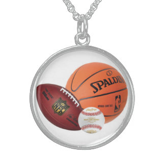 béisbol, baloncesto, fútbol collares de plata esterlina