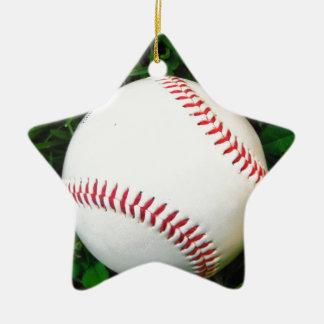Béisbol blanco con la costura roja adorno navideño de cerámica en forma de estrella