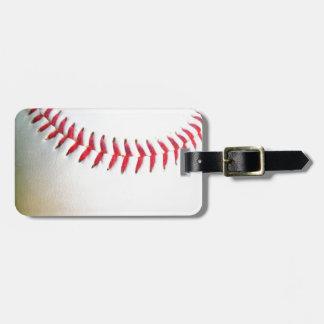 Béisbol blanco con la costura roja etiquetas de equipaje
