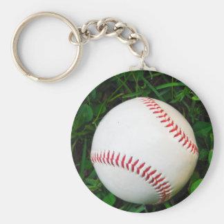 Béisbol blanco con la costura roja llavero personalizado