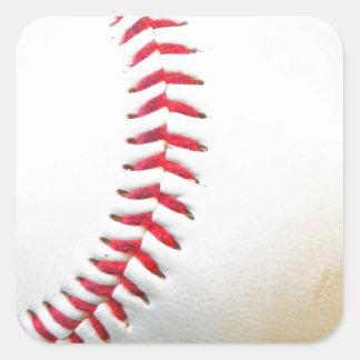 Béisbol blanco con la costura roja pegatina cuadrada