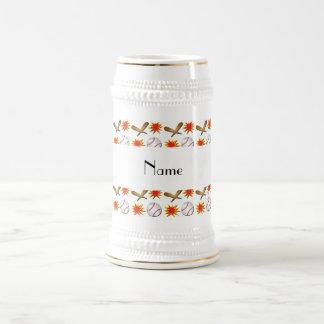 Béisbol blanco conocido personalizado jarra de cerveza