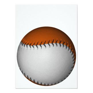"""Béisbol blanco y anaranjado invitación 5.5"""" x 7.5"""""""