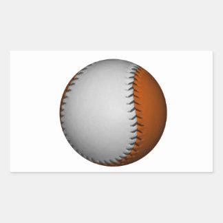 Béisbol blanco y anaranjado pegatina rectangular