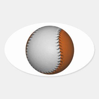 Béisbol blanco y anaranjado pegatina ovalada