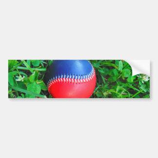 Béisbol blanco y azul rojo pegatina de parachoque