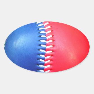 Béisbol blanco y azul rojo pegatina ovalada