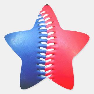 Béisbol blanco y azul rojo pegatina en forma de estrella