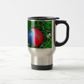 Béisbol blanco y azul rojo taza de viaje de acero inoxidable