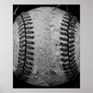 Béisbol blanco y negro póster