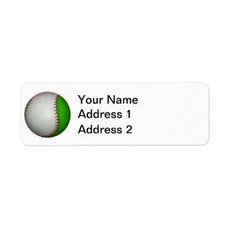 Béisbol blanco y verde etiquetas de remite