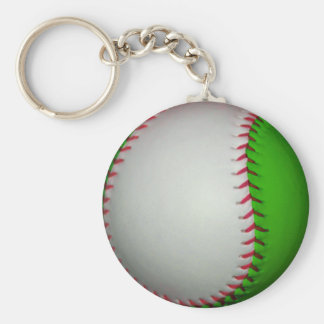 Béisbol blanco y verde llavero personalizado