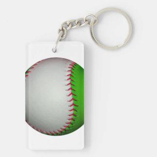 Béisbol blanco y verde llaveros