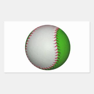 Béisbol blanco y verde pegatina rectangular