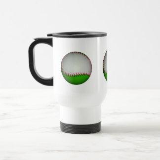Béisbol blanco y verde taza de viaje de acero inoxidable