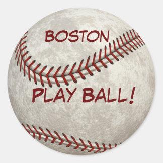"""Béisbol """"bola de Boston del juego!"""" Más Pegatina Redonda"""
