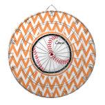 Béisbol; Chevron anaranjado y blanco Tabla Dardos