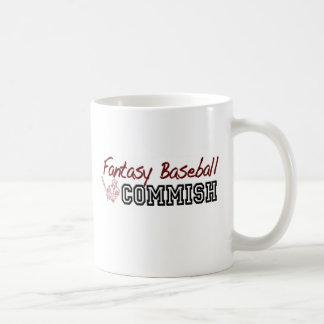 Béisbol Commish de la fantasía Taza Básica Blanca