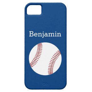 Béisbol con el nombre de encargo - azul real iPhone 5 funda