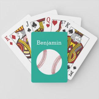 Béisbol con el nombre de encargo - esmeralda barajas de cartas