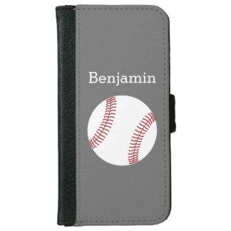 Béisbol con el nombre de encargo - gris funda cartera para iPhone 6