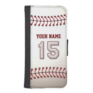 Béisbol con el número conocido adaptable 15 fundas billetera de iPhone 5