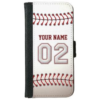 Béisbol con el número conocido adaptable 2 funda cartera para iPhone 6