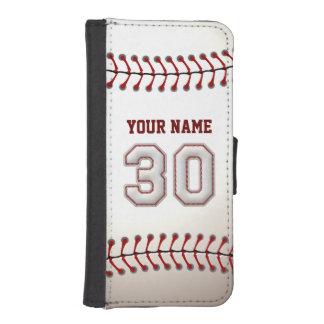Béisbol con el número conocido adaptable 30 funda tipo billetera para iPhone 5