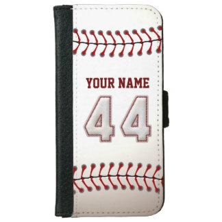 Béisbol con el número conocido adaptable 44 funda cartera para iPhone 6