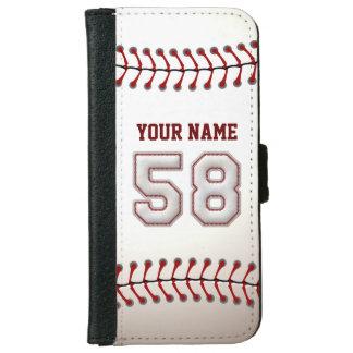 Béisbol con el número conocido adaptable 58 funda cartera para iPhone 6