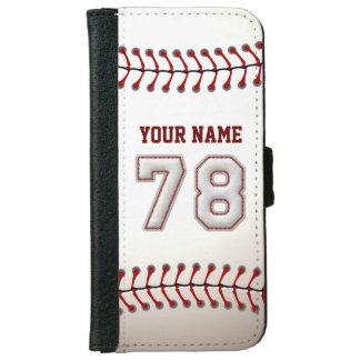 Béisbol con el número conocido adaptable 78 funda cartera para iPhone 6