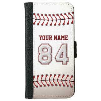 Béisbol con el número conocido adaptable 84 funda cartera para iPhone 6