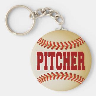Béisbol con el texto de la jarra llavero redondo tipo pin