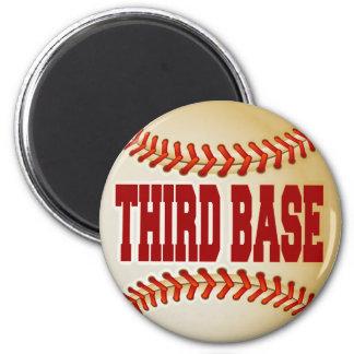 Béisbol con el texto de la tercera base imán redondo 5 cm