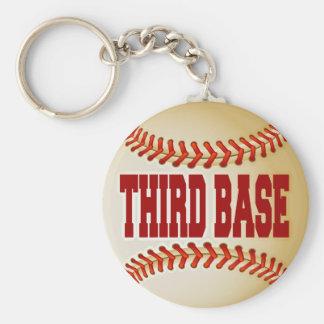Béisbol con el texto de la tercera base llavero redondo tipo pin