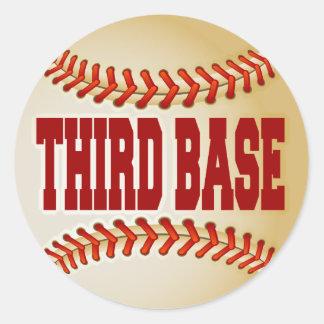 Béisbol con el texto de la tercera base pegatina redonda