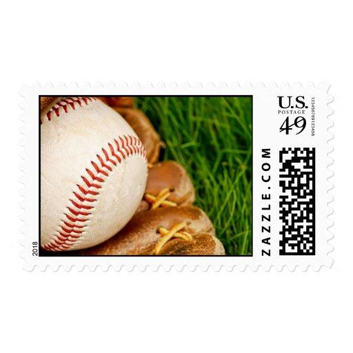 Béisbol con franqueo del mitón sello