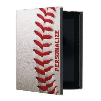 Béisbol con la costura del rojo y el nombre person iPad carcasa