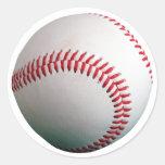 Béisbol con la costura roja etiqueta redonda