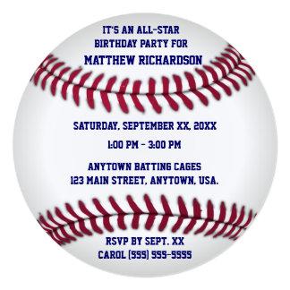 """Béisbol con la parte posterior azul de la tela a invitación 5.25"""" x 5.25"""""""