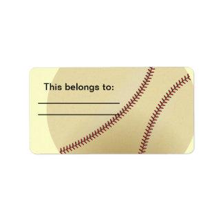 Béisbol con la puntada roja etiquetas de dirección