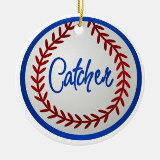Béisbol con las puntadas y el colector rojos adorno redondo de cerámica